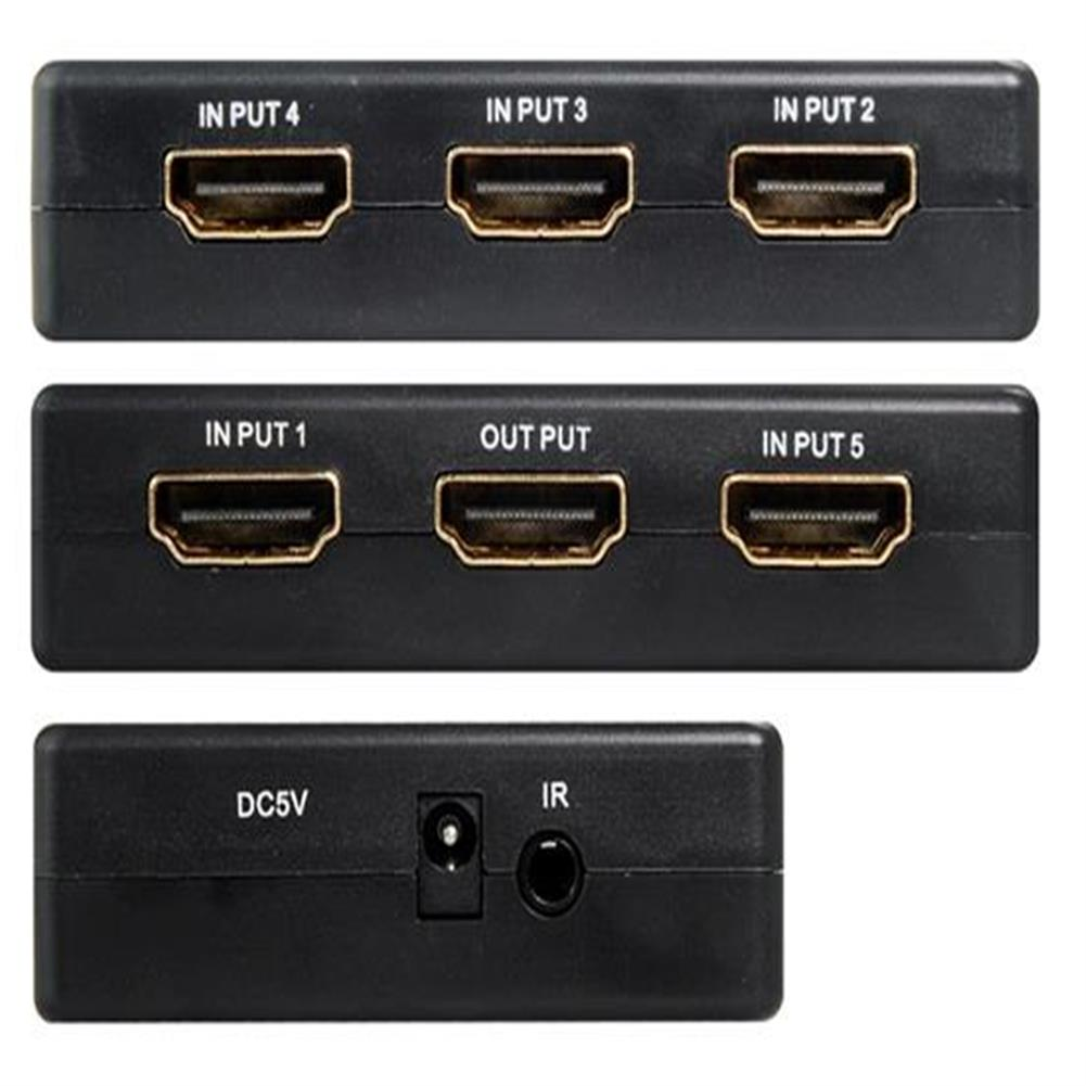 adapters 5 to 1 HDMI 1.4 Switch With IR Remote Controller - Black 5 to 1 HDMI 1 4 Switch With IR Remote Controller Black 1