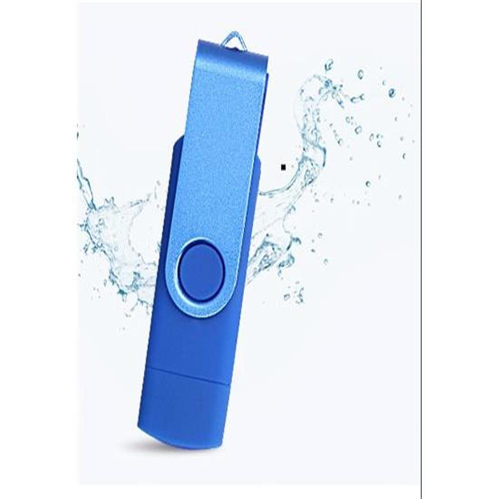 -Top Rated-64GB USB Flash Drive With Dual Plugs OTG JumpDrive For Mobile Phone Tablet PC USB Stick Dark Blue