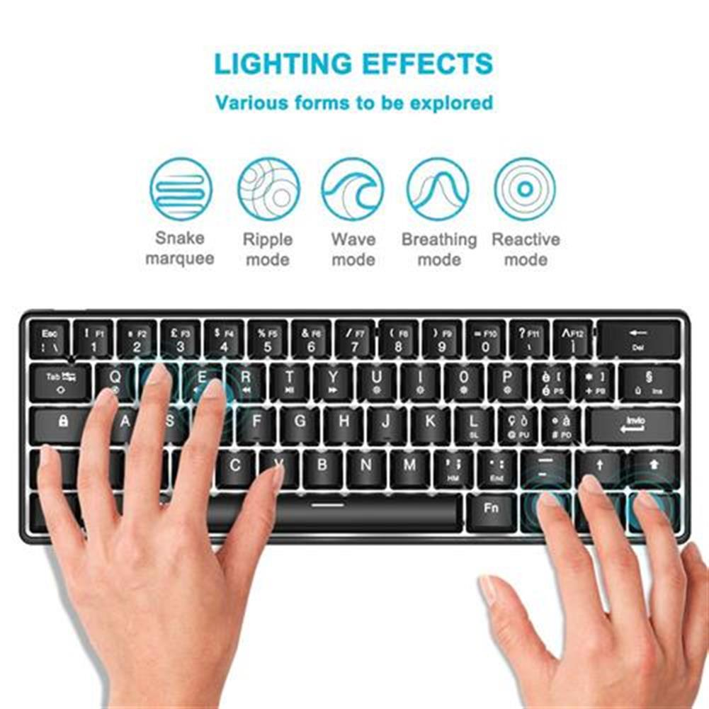 wired-keyboards ACGAM AG6X Wired Mechanical Keyboard Full Keys Programmable White Blacklight Italian Layout 63 Keys - Black ACGAM AG6X Wired Mechanical Keyboard Full Keys Programmable White Blacklight Italian Layout 63 Keys Black 1