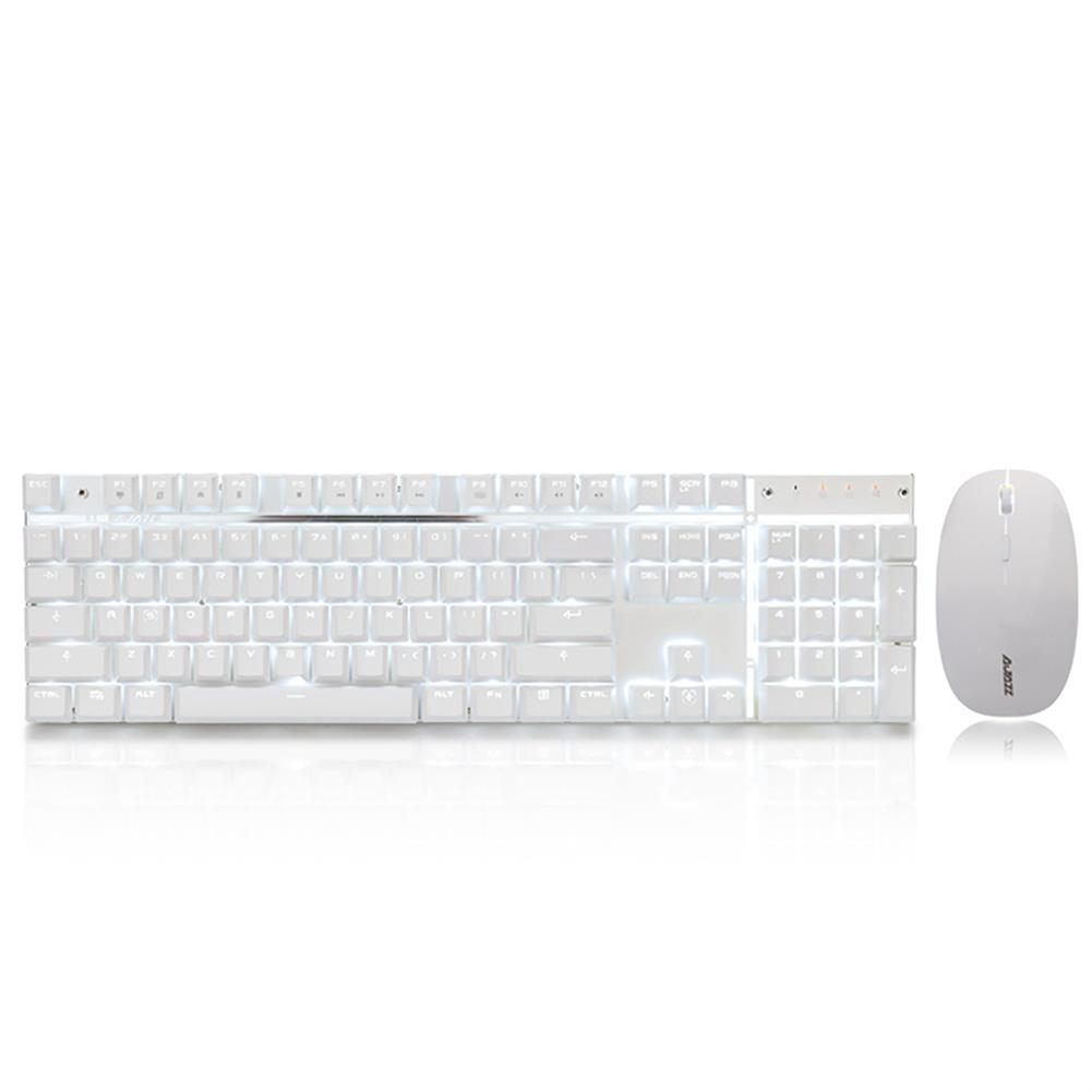 keyboard-and-mice-kit-Ajazz A3008 2.4G Wireless Mechanical Keyboard & Mouse Combos 104 Keys White Backlit Blue Switches Keyboard 1600DPI Mouse - White-Ajazz A3008 2 4G Wireless Mechanical Keyboard amp Mouse Combos 104 Keys White Backlit Blue Switches Keyboard 1600DPI Mouse White
