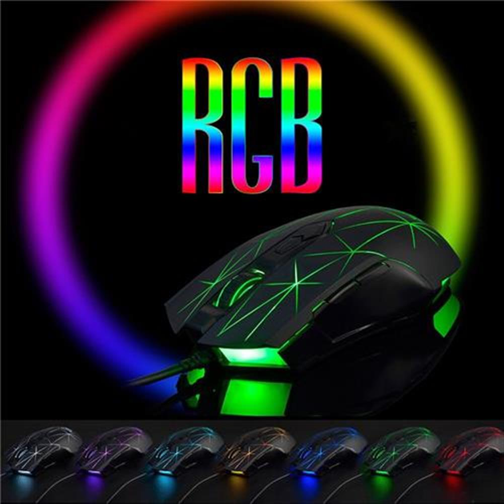 wired-mouse Ajazz AJ52 Star Version Wired Gaming Mouse 7 Programmable Buttons Colorful RGB Backlight Compatible Plug And Play - Black Ajazz AJ52 Star Version Wired Gaming Mouse 7 Programmable Buttons Colorful RGB Backlight Compatible Plug And Play Black 2