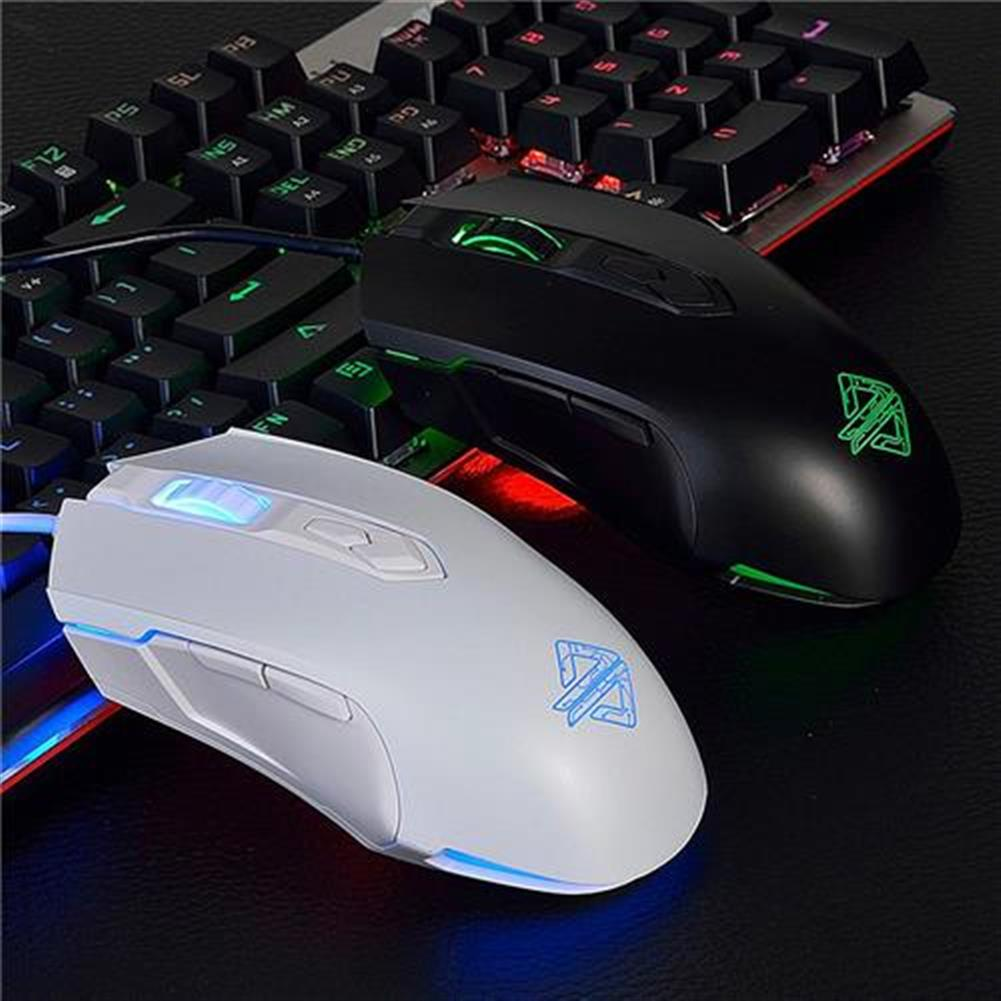 wired-keyboards Ajazz AJ52 Tournament Version Wired Gaming Mouse 7 Programmable Buttons Colorful Backlit Compatible - White Ajazz AJ52 Tournament Version Wired Gaming Mouse 7 Programmable Buttons Colorful Backlit Compatible White 3