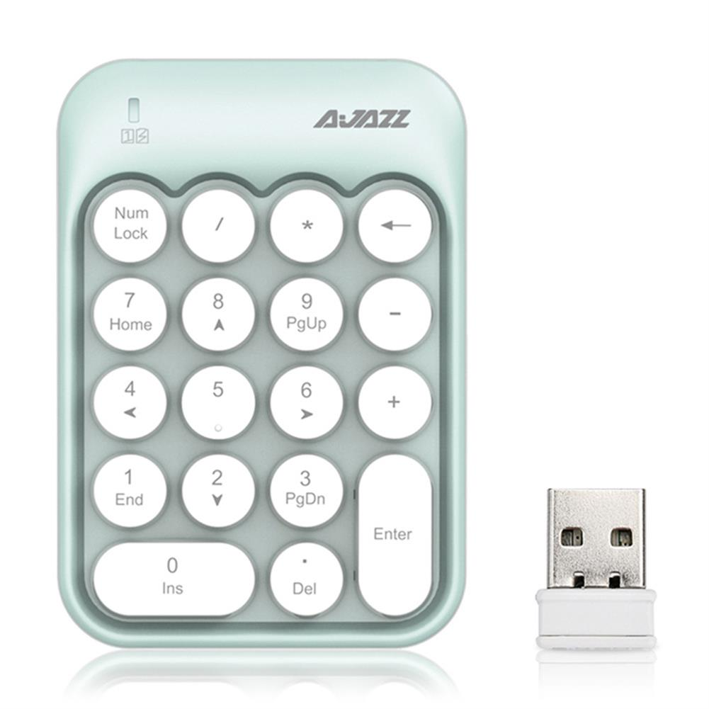 wireless-keyboards-Ajazz AK18 2.4G Wireless Numeric Keypad 18-Key Retro Typewriter Round Keycap - Blue-Ajazz AK18 2 4G Wireless Numeric Keypad 18 Key Retro Typewriter Round Keycap Blue