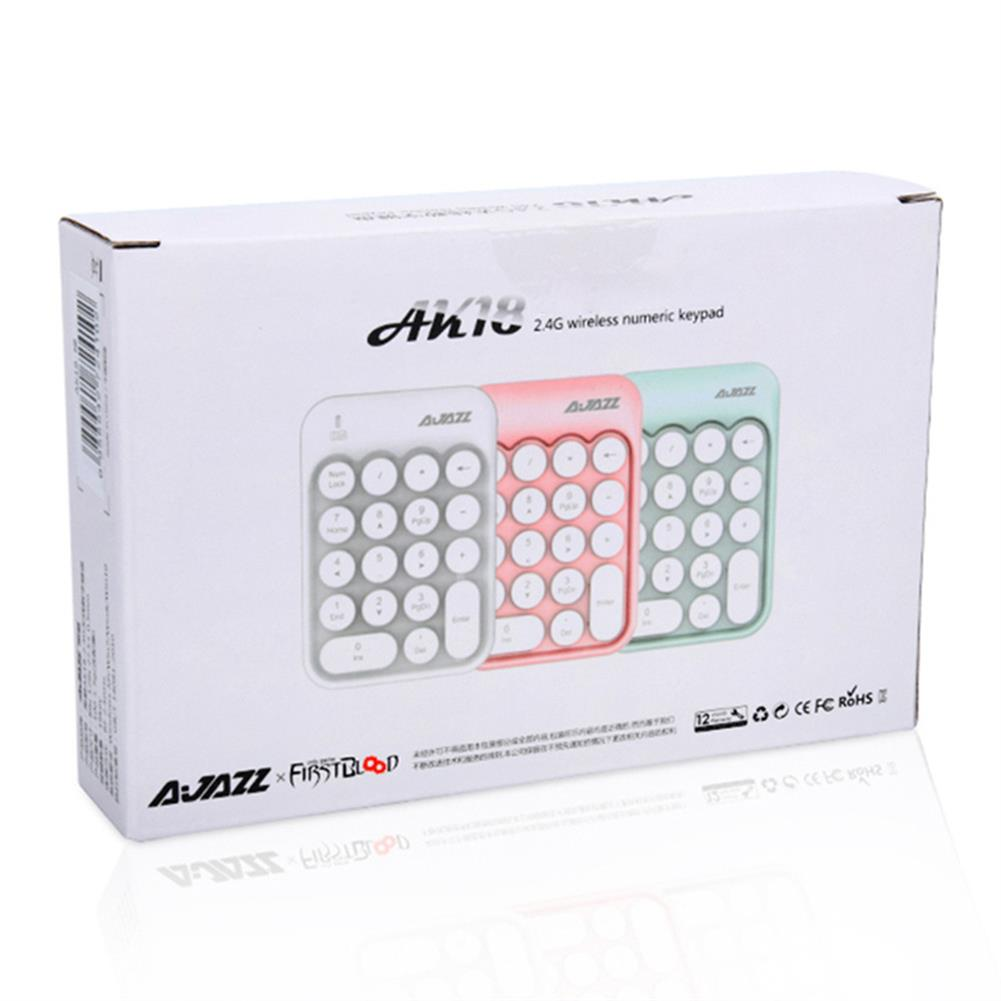 wireless-keyboards Ajazz AK18 2.4G Wireless Numeric Keypad 18-Key Retro Typewriter Round Keycap - Pink Ajazz AK18 2 4G Wireless Numeric Keypad 18 Key Retro Typewriter Round Keycap Pink 4
