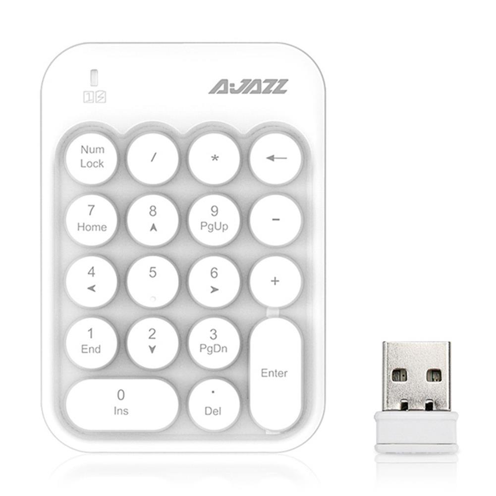 wireless-keyboards Ajazz AK18 2.4G Wireless Numeric Keypad 18-Key Retro Typewriter Round Keycap - White Ajazz AK18 2 4G Wireless Numeric Keypad 18 Key Retro Typewriter Round Keycap White