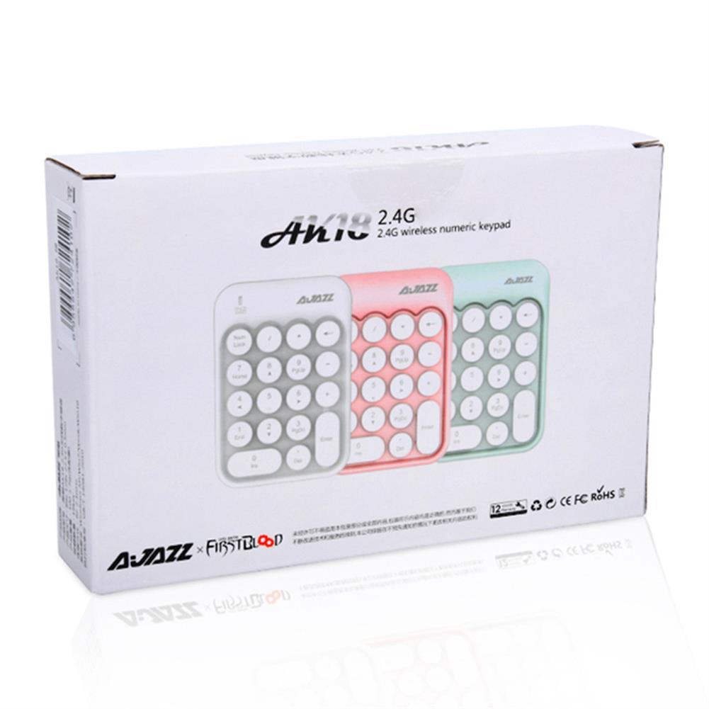 wireless-keyboards-Ajazz AK18 2.4G Wireless Numeric Keypad 18-Key Retro Typewriter Round Keycap - White-Ajazz AK18 2 4G Wireless Numeric Keypad 18 Key Retro Typewriter Round Keycap White 4