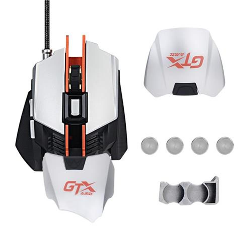 wired-mouse Ajazz GTX Ergonomic Wired Gaming Mouse 4000 DPI 7 Buttons Adjustable Wrist Pad Weight Tuning Side Buttons - White + Grey Ajazz GTX Ergonomic Wired Gaming Mouse 4000 DPI 7 Buttons Adjustable Wrist Pad Weight Tuning Side Buttons White Grey 9