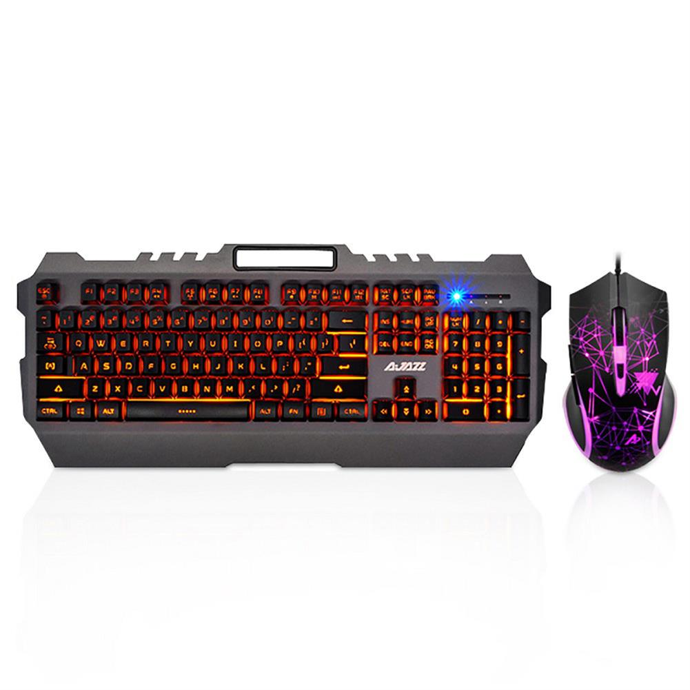 keyboard-and-mice-kit-Ajazz Mechanical Wolf Wired Gaming Keyboard & Mouse Combos 104 Keys Backlit Keyboard 3200DPI Mouse - Black-Ajazz Mechanical Wolf Wired Gaming Keyboard amp Mouse Combos 104 Keys Backlit Keyboard 3200DPI Mouse Black