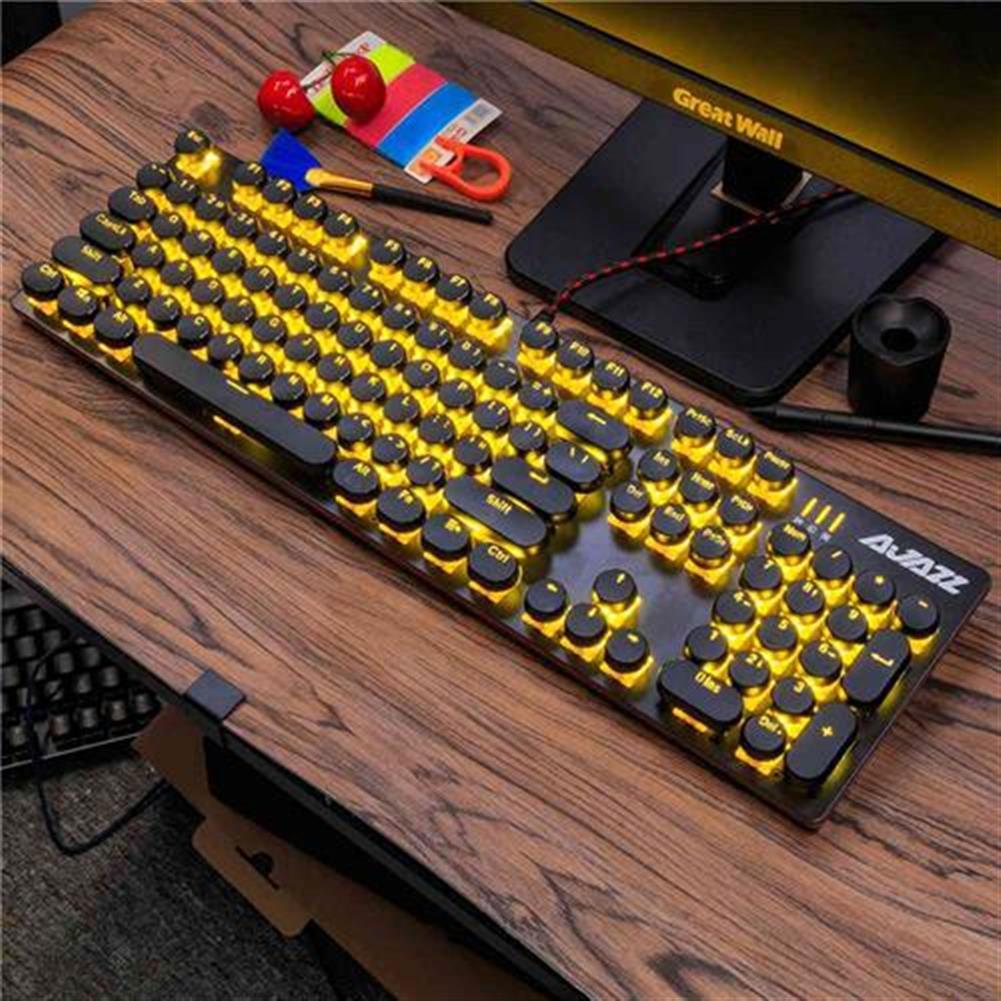 wired-keyboards Ajazz ROBOCOP Wired Mechanical Gaming Keyboard Backlight Blue Switch 104 Keys Round Keycap Anti-ghosting - Black Ajazz ROBOCOP Wired Mechanical Gaming Keyboard Backlight Blue Switch 104 Keys Round Keycap Anti ghosting Black 1