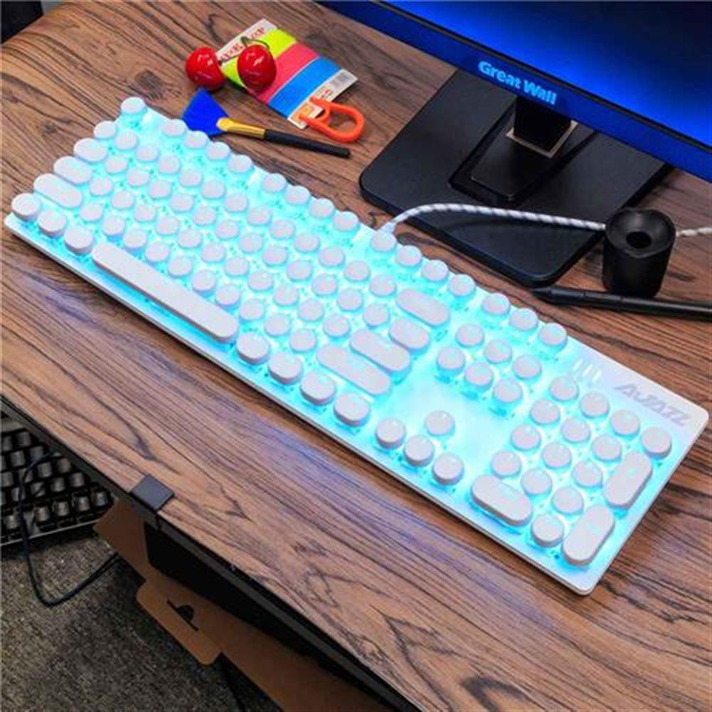 wired-keyboards Ajazz ROBOCOP Wired Mechanical Gaming Keyboard Backlight Blue Switch 104 Keys Round Keycap Anti-ghosting - White Ajazz ROBOCOP Wired Mechanical Gaming Keyboard Backlight Blue Switch 104 Keys Round Keycap Anti ghosting White 1