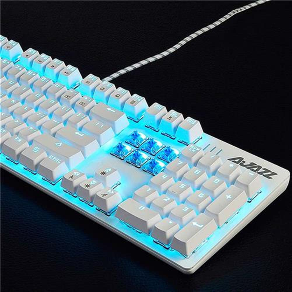 wired-keyboards Ajazz ROBOCOP Wired Mechanical Gaming Keyboard Backlights Blue Switch Ergonomic 104 Keys Anti-ghosting - White Ajazz ROBOCOP Wired Mechanical Gaming Keyboard Backlights Blue Switch Ergonomic 104 Keys Anti ghosting White 3