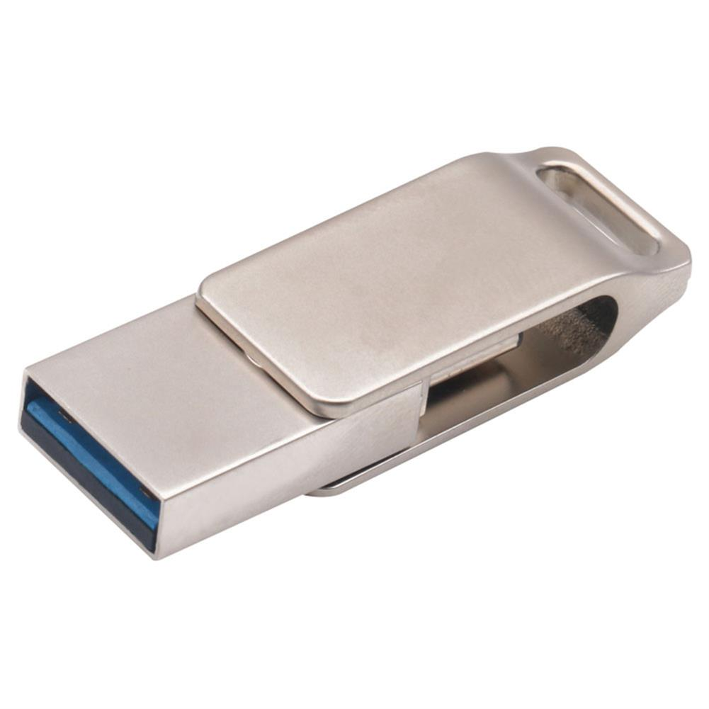 usb-flash-drives-CW10244 USB Flash Drive 64GB Zinc Alloy Mobile Phone PC Flash Disk USB3.0 And Type-C Interface - Silver-CW10244 USB Flash Drive 64GB Zinc Alloy Mobile Phone PC Flash Disk USB3 0 And Type C Interface Silver