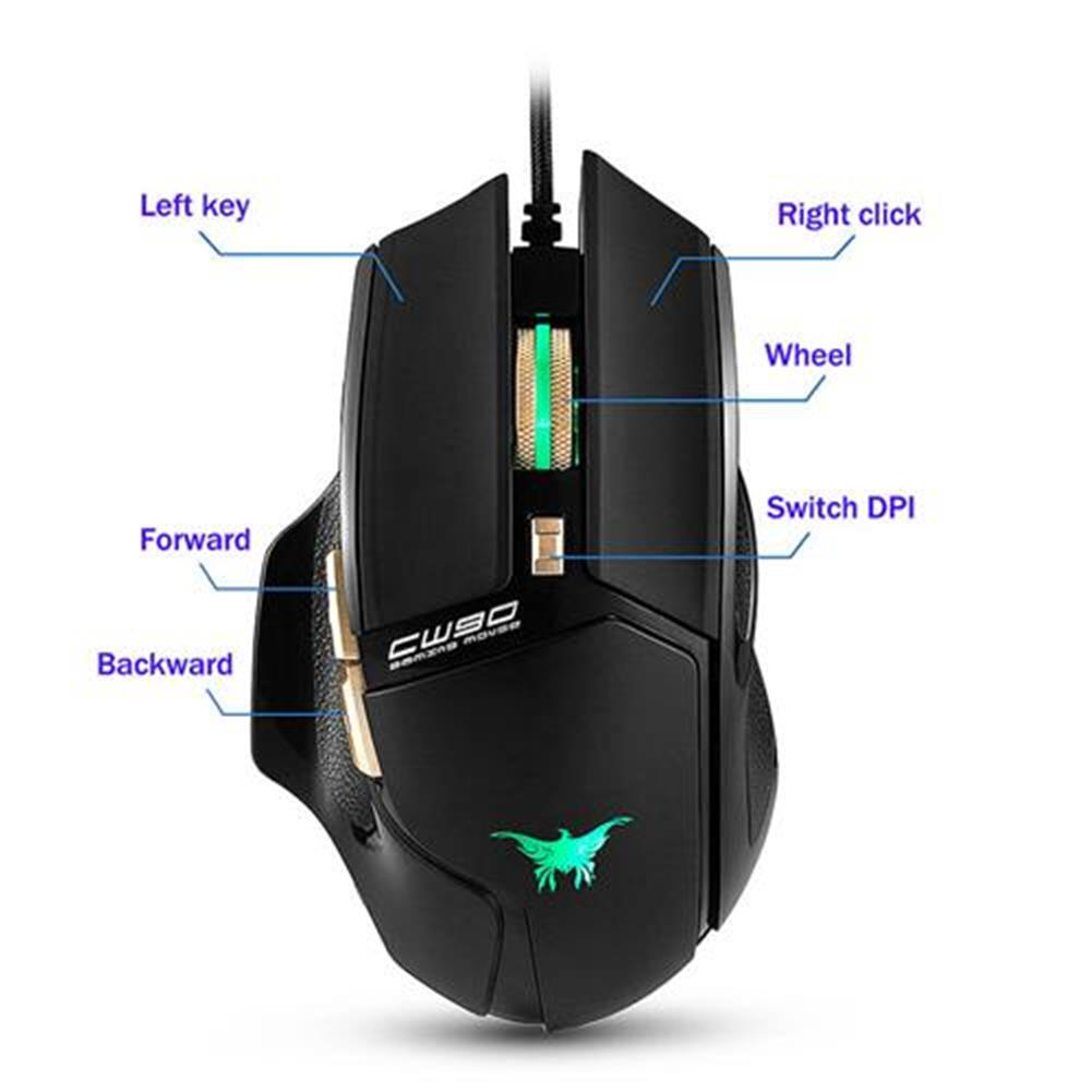 wired-mouse Combaterwing CW-90 6 Keys Gaming Mouse 3800DPI with Optical Sensor Ergonomic Design - Black Combaterwing CW 90 6 Keys Gaming Mouse 3800DPI with Optical Sensor Ergonomic Design Black 7