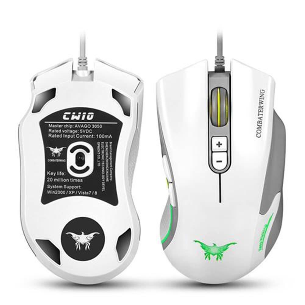 wired-mouse Combaterwing CW10 Professional Gaming Mouse USB Wired 4800DPI 7 Buttons 6 Colors Breathing LED - White Combaterwing CW10 Professional Gaming Mouse USB Wired 4800DPI 7 Buttons 6 Colors Breathing LED White