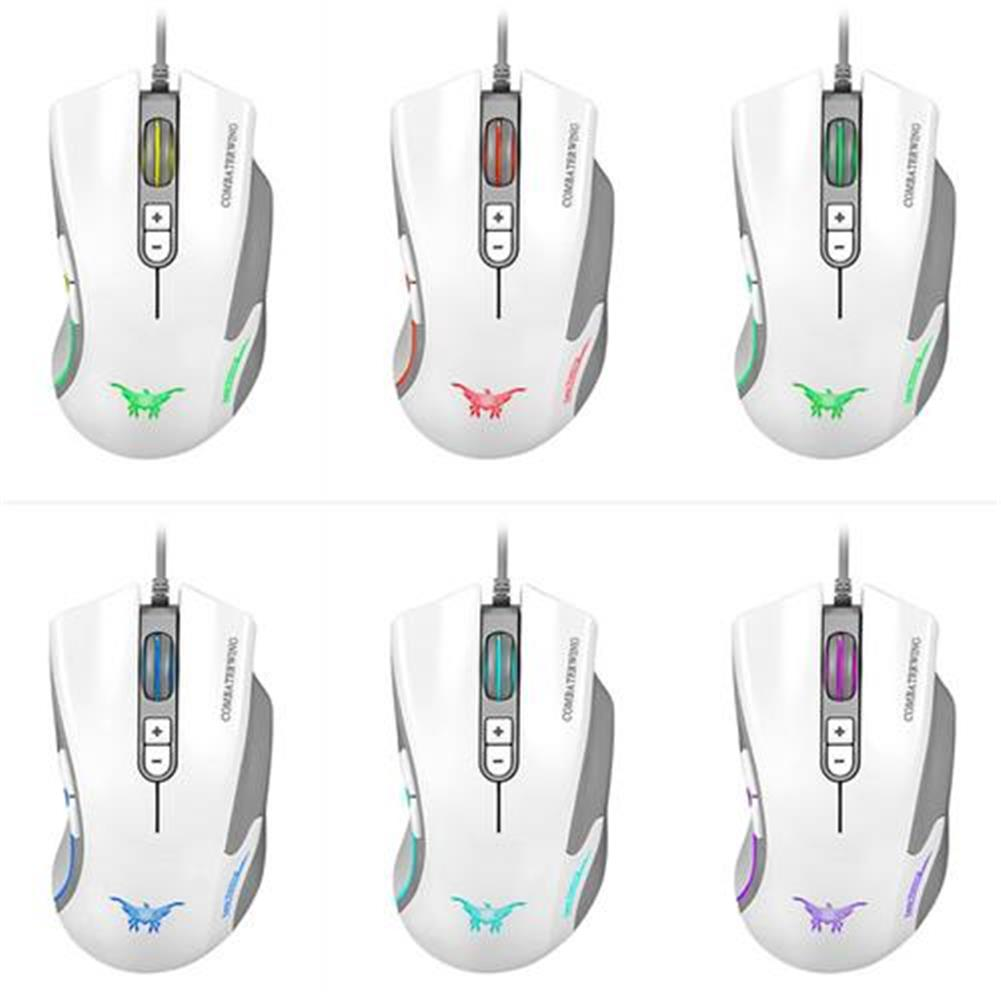 wired-mouse Combaterwing CW10 Professional Gaming Mouse USB Wired 4800DPI 7 Buttons 6 Colors Breathing LED - White Combaterwing CW10 Professional Gaming Mouse USB Wired 4800DPI 7 Buttons 6 Colors Breathing LED White 7