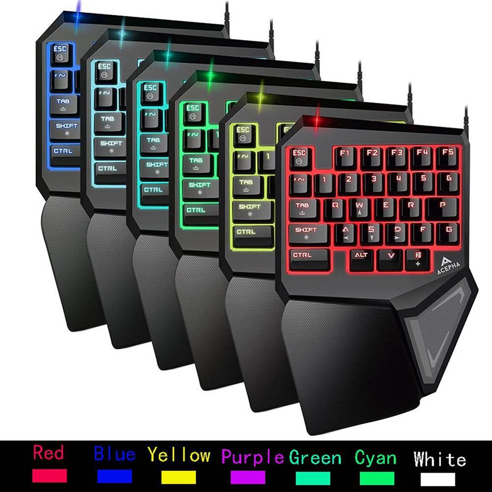 wired-keyboards Delux T9 Pro Wired One-Handed Gaming Keyboard 7 Colors Backlight 29 Programable Keys - Black Delux T9 Pro Wired One Handed Gaming Keyboard 7 Colors Backlight 29 Programable Keys Black 7