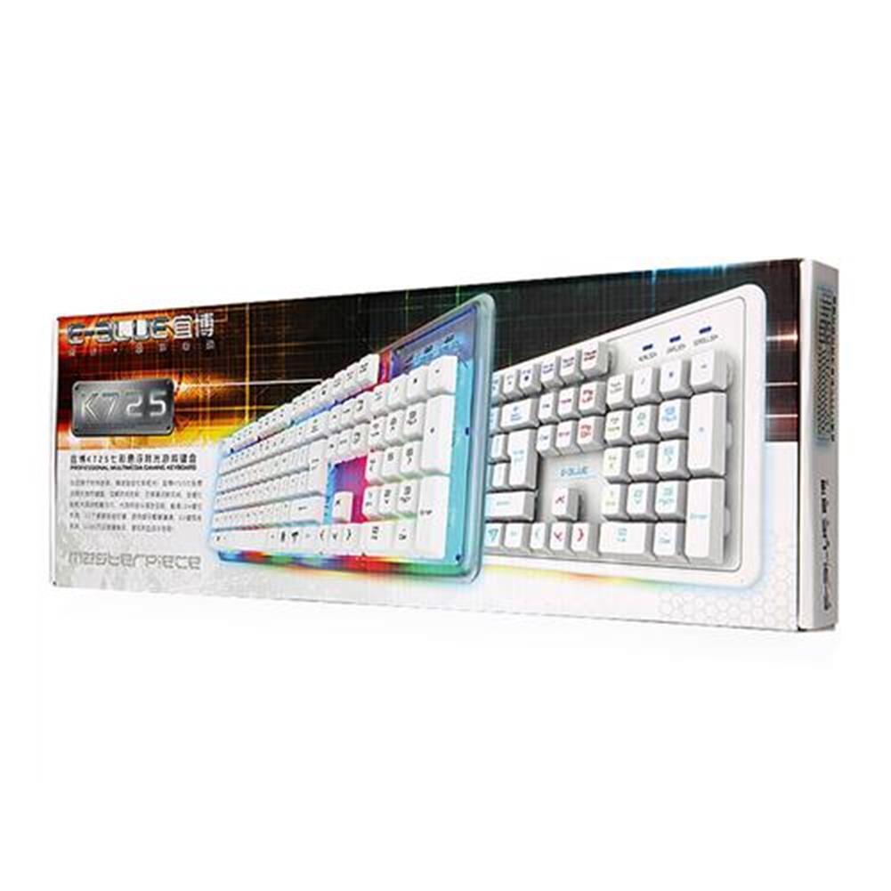 wired-keyboards E-3lue EKM725 Water Resistant Colorful Backlit Gaming Keyboard 8 Switchable Backlight - White E 3lue EKM725 Water Resistant Colorful Backlit Gaming Keyboard 8 Switchable Backlight White 7