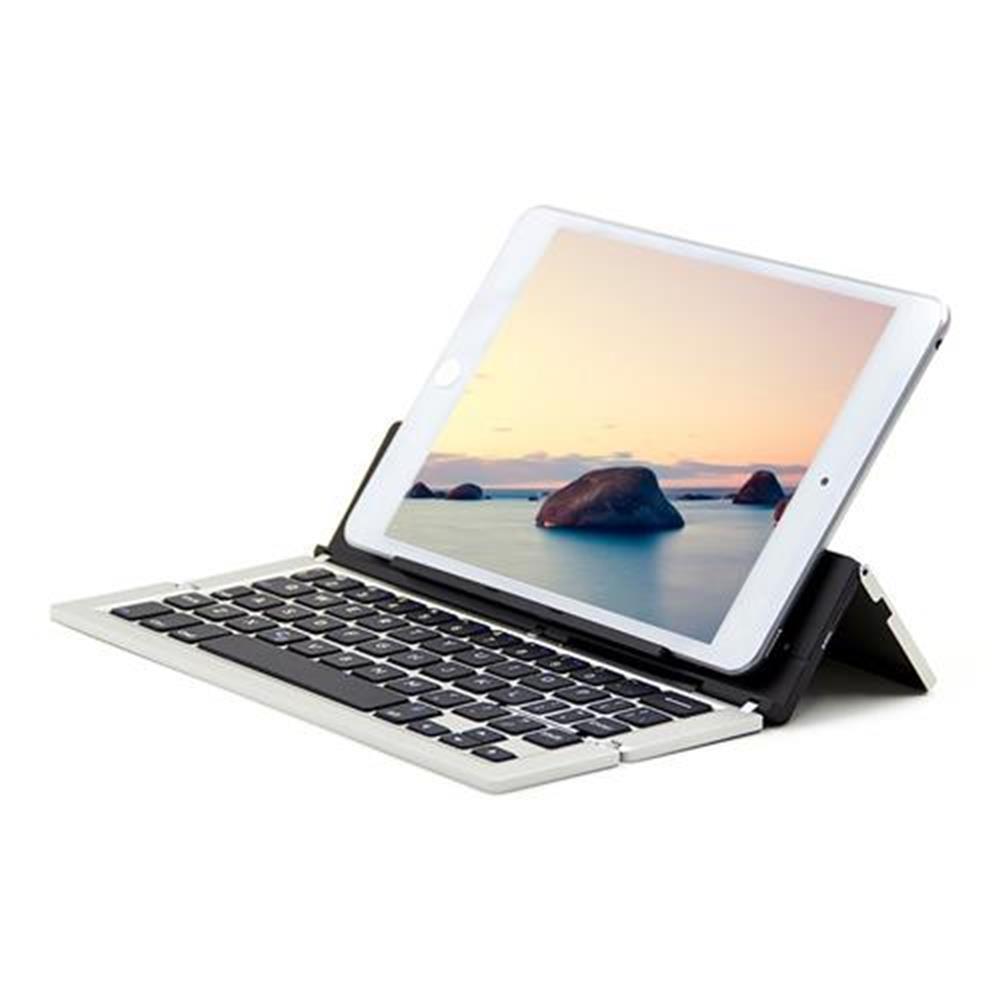 -Best Seller-F18 Wireless Bluetooth Triple folding Ultra thin Keyboard Broadcom Decoder 65 Keys for iOS Android Windows Metal Silver 1