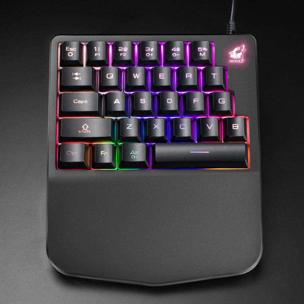 wired-keyboards Free Wolf K11 Wired One-hand Membrane Gaming Keyboard Ergonomic Design Rainbow LED Backlit 28 Keys Anti-ghosting - Black Free Wolf K11 Wired One hand Membrane Gaming Keyboard Ergonomic Design Rainbow LED Backlit 28 Keys Anti ghosting Black 1