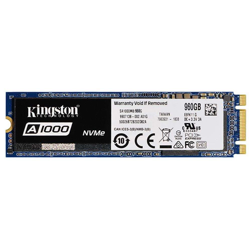 storage Kingston Digital A1000 960GB PCIe NVMe M.2 2280 Internal SSD High Performance Solid State Drive - Blue Kingston Digital A1000 960GB PCIe NVMe M 2 2280 Internal SSD High Performance Solid State Drive Blue