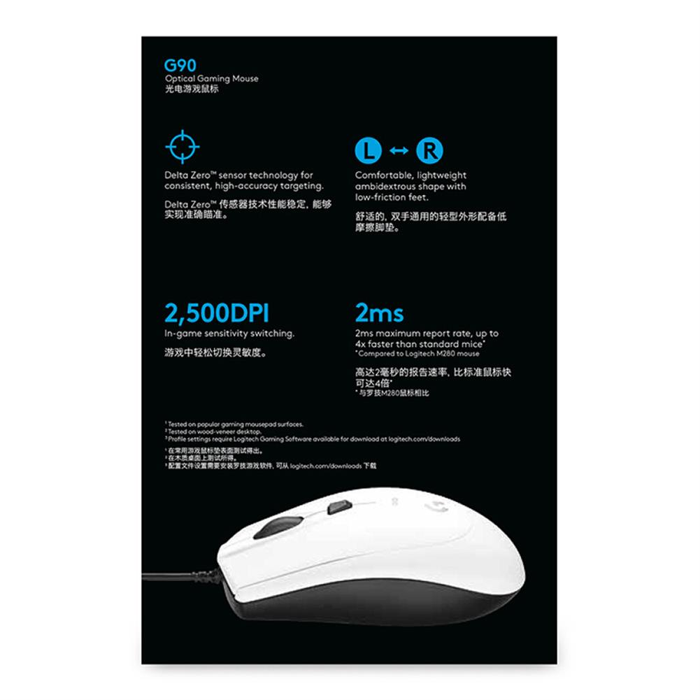 wired-mouse Logitech G90 Wired Optical Gaming Mouse 2500DPI Lightning Speed Operation For PC / Laptop - White Logitech G90 Wired Optical Gaming Mouse 2500DPI Lightning Speed Operation For PC Laptop White 4
