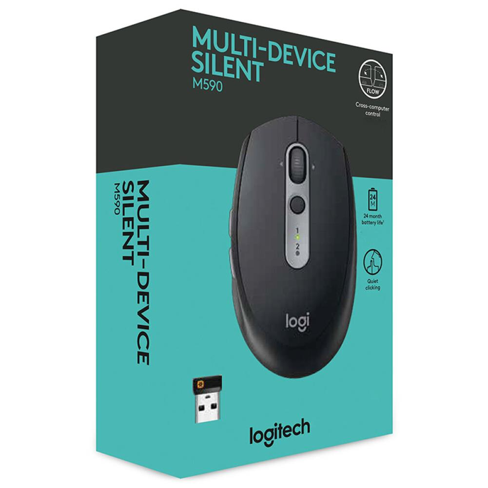 wireless-mouse-Logitech M590 Wireless Mute Mouse Bluetooth 2.4G Dual Mode Multi-device Control - Black-Logitech M590 Wireless Mute Mouse Bluetooth 2 4G Dual Mode Multi device Control Black 5