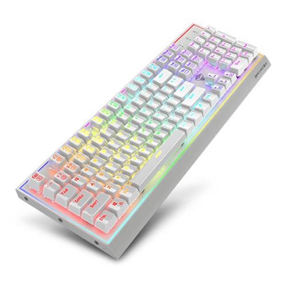 wired-keyboards Machenike K1-B3S Men Blue Switch 104 Keys Green Backlight Aluminium Mechanical Gaming Keyboard - White Machenike K1 B3S Men Blue Switch 104 Keys Green Backlight Aluminium Mechanical Gaming Keyboard White 1