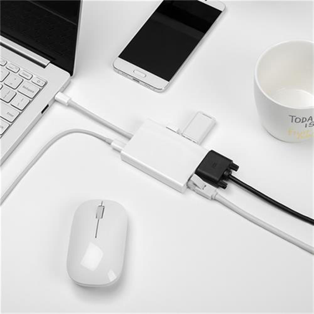 adapters Original Xiaomi USB-C To VGA Adapter Gigabit Ethernet Port Multi-functional + USB3.0 Hub - White Original Xiaomi USB C To VGA Adapter Gigabit Ethernet Port Multi functional USB3 0 Hub White 1