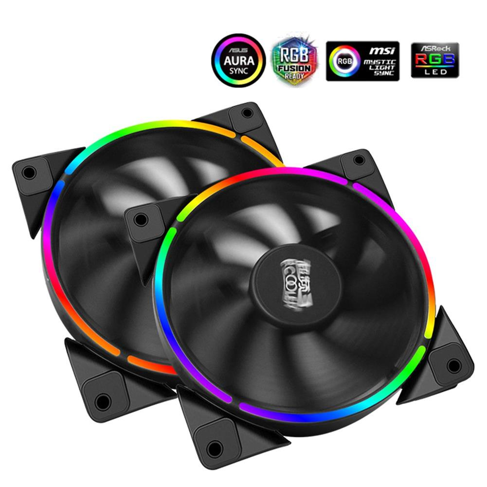 fan-cooling-Pccooler Halo 12cm Case Cooler Fan 4 Pin PWM With RGB LED Light Support ASUS AURA For CPU Cooler - Black-Pccooler Halo 12cm Case Cooler Fan 4 Pin PWM With RGB LED Light Support ASUS AURA For CPU Cooler Black