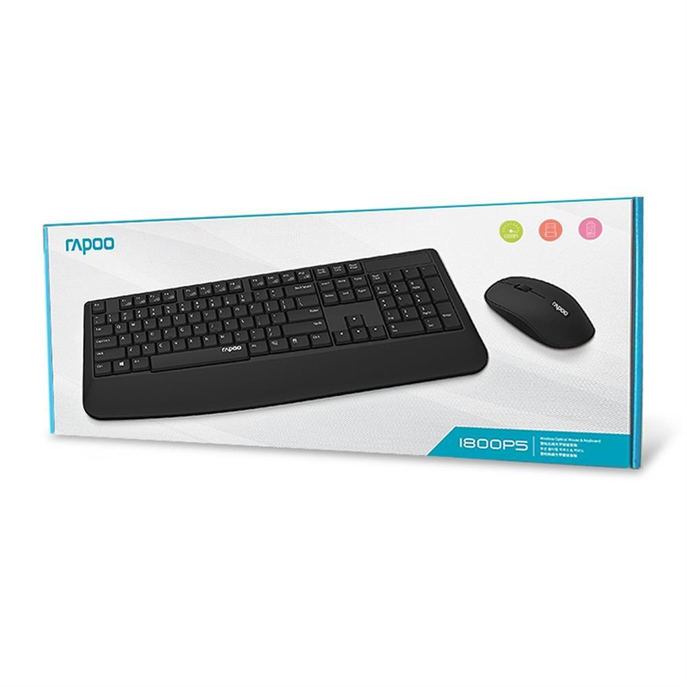 keyboard-and-mice-kit Rapoo 1800P5 2.4G Wireless Optical Keyboard Wireless Mouse Kit Anti-splash 1000DPI With Wrist Rest - Black Rapoo 1800P5 2 4G Wireless Optical Keyboard Wireless Mouse Kit Anti splash 1000DPI With Wrist Rest Black 3