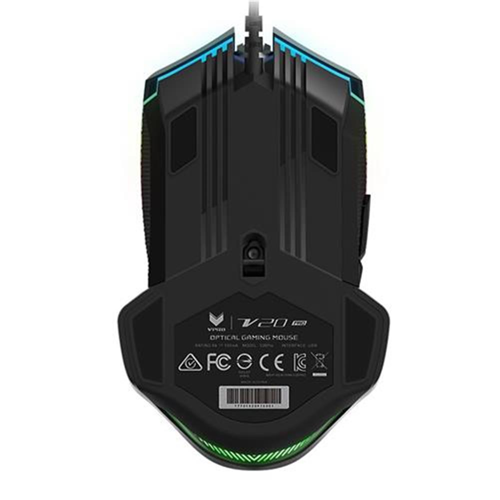 wired-mouse Rapoo V20 Pro Wired Gaming Mouse With RGB Backlihgt 9 Buttons Programmable Accurate Cursor - Black Rapoo V20 Pro Wired Gaming Mouse With RGB Backlihgt 9 Buttons Programmable Accurate Cursor Black 1