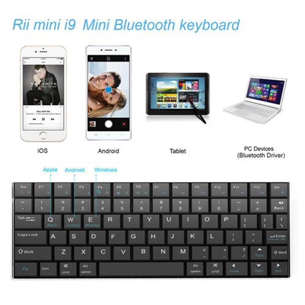 wireless-keyboards Rii Mini i9 Bluetooth Keyboard for iPad iPhone Android MID Metal - Black Rii Mini i9 Bluetooth Keyboard for iPad iPhone Android MID Metal Black 4