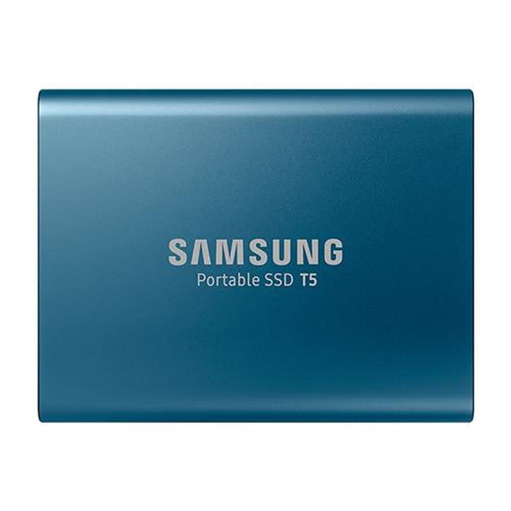 ssd-hdd-enclosures-Samsung T5 1TB Portable SSD With USB 3.1 Hardware Encryption - Lake Blue-Samsung T5 1TB Portable SSD With USB 3 1 Hardware Encryption Lake Blue