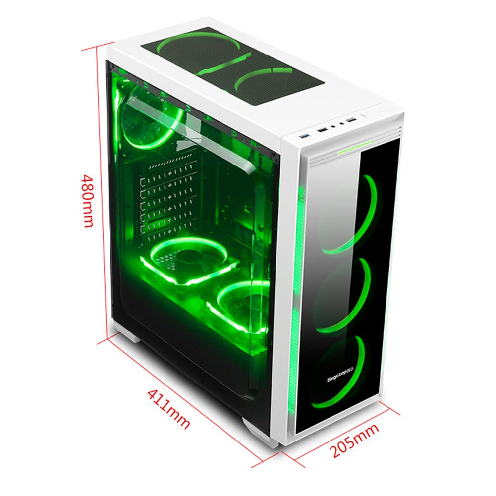 -Best Seller-Segotep HALO 6 PLUS Computer Case PC USB 3 0 Mainframe Support E ATX M ATX ITX With 7 Card Slots White 1