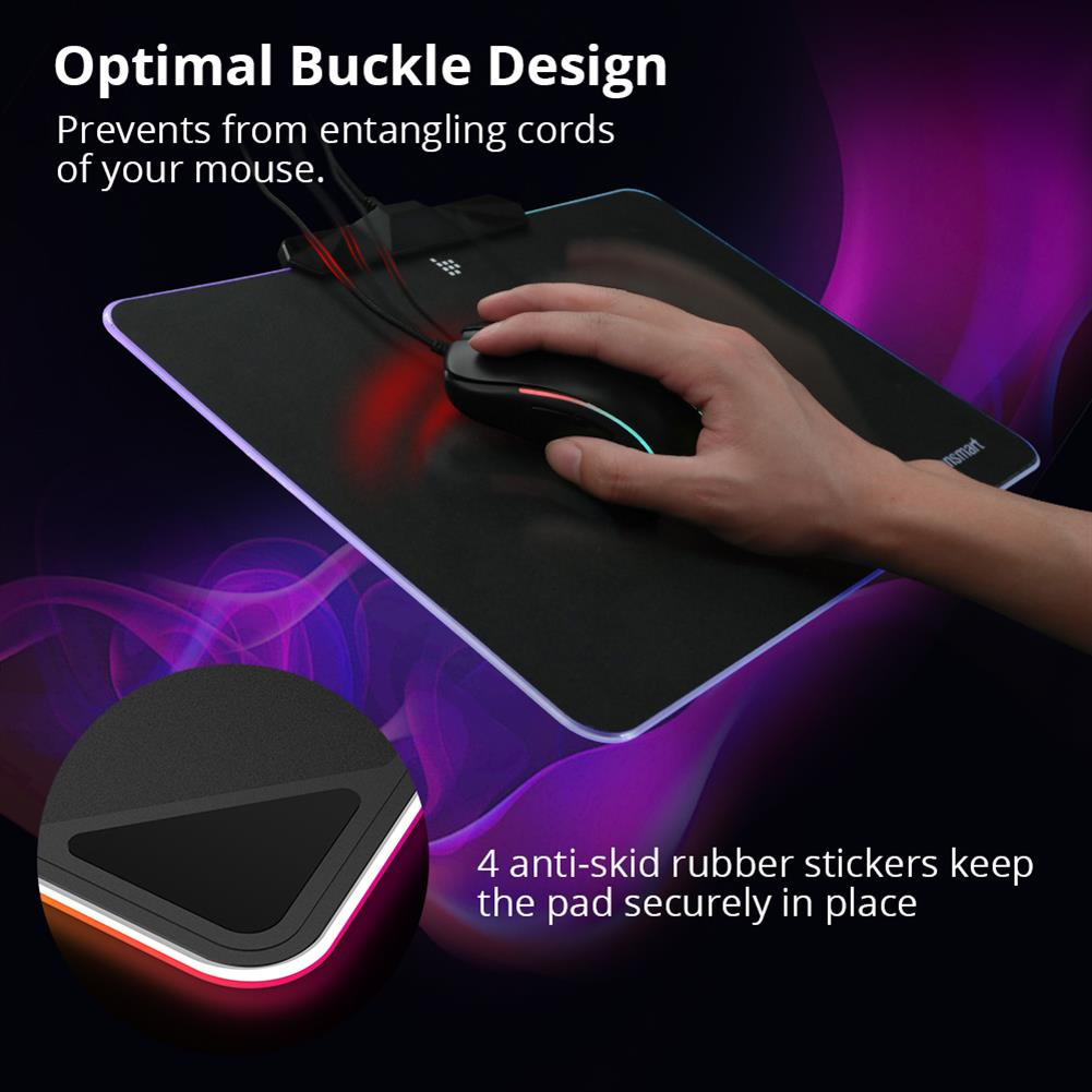 mouse-pads Tronsmart Shine X RGB Gaming Mouse Pad USB Mat with 16.8 Million Colors Non-slip Base Optimized for Gaming Sensors Tronsmart Shine X RGB Gaming Mouse Pad USB Mat with 16 8 Million Colors Non slip Base Optimized for Gaming Sensors 6