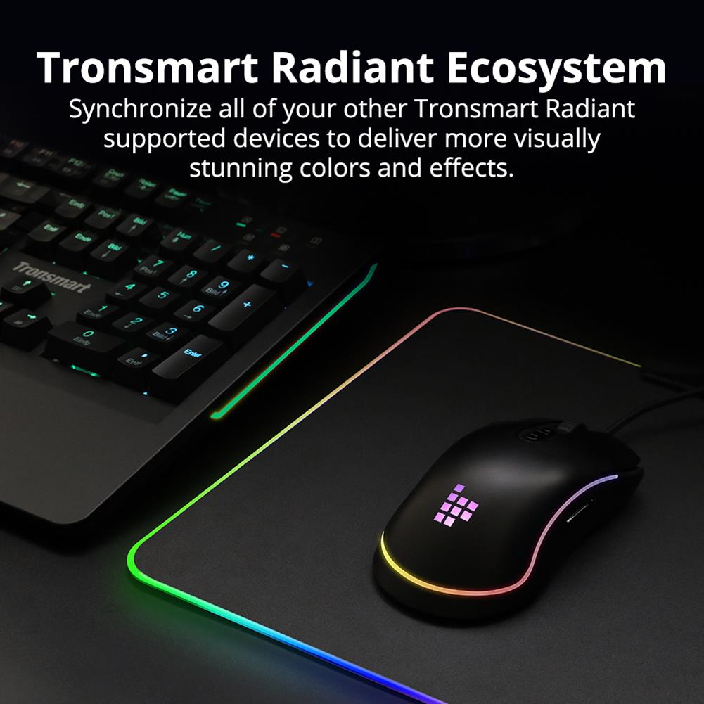 mouse-pads Tronsmart Shine X RGB Gaming Mouse Pad USB Mat with 16.8 Million Colors Non-slip Base Optimized for Gaming Sensors Tronsmart Shine X RGB Gaming Mouse Pad USB Mat with 16 8 Million Colors Non slip Base Optimized for Gaming Sensors 8
