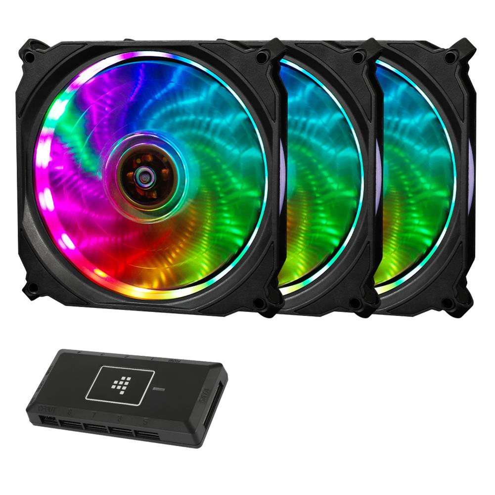 fan-cooling-Tronsmart TF12 RGB 120mm PWM Cooling Fan with Controller 16 RGB LEDs Ultra-thin Blades Software Enabled 3 Pack-Tronsmart TF12 RGB 120mm PWM Cooling Fan with Controller 16 RGB LEDs Ultra thin Blades Software Enabled 3 Pack