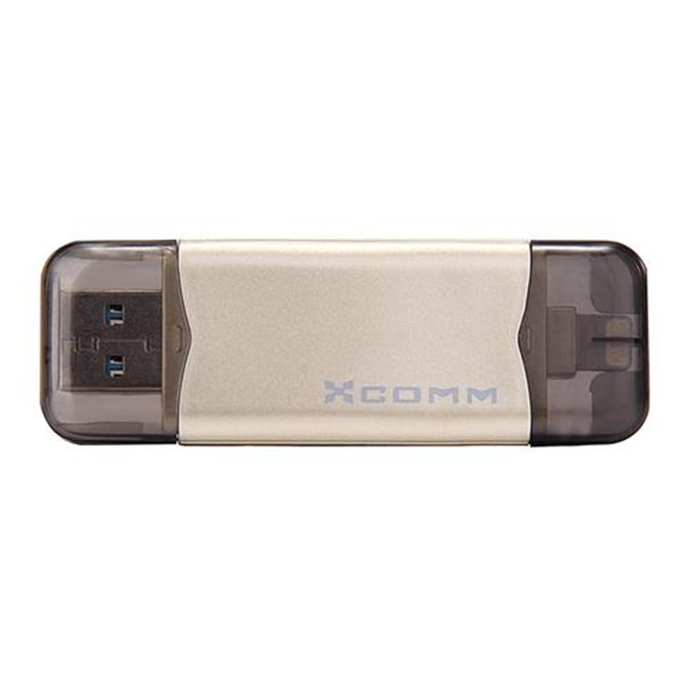 usb-flash-drives Xcomm XU-209 64GB Phone U Disk with 8pin Interface for iPhone 6S/6S Plus/6/6P/5S - Gold Xcomm XU 209 64GB Phone U Disk with 8pin Interface for iPhone 6S 6S Plus 6 6P 5S Gold 5