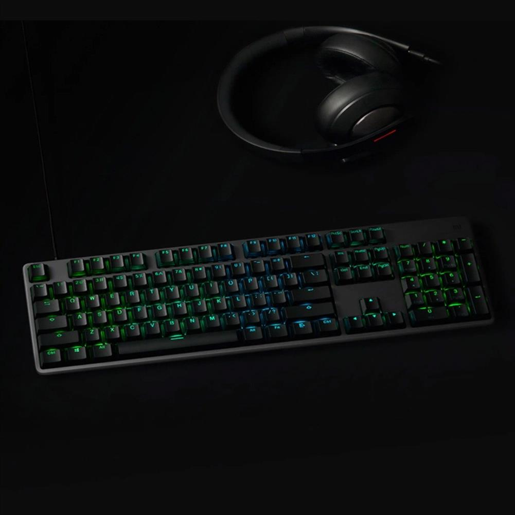 wired-keyboards Xiaomi Wired Gaming Keyboard 104-Key RGB Backlit Aluminum Alloy Surface Cover Ergonomic Button Sorting New Gaming Switch - Black Xiaomi Wired Gaming Keyboard 104 Key RGB Backlit Aluminum Alloy Surface Cover Ergonomic Button Sorting New Gaming Switch Black 2