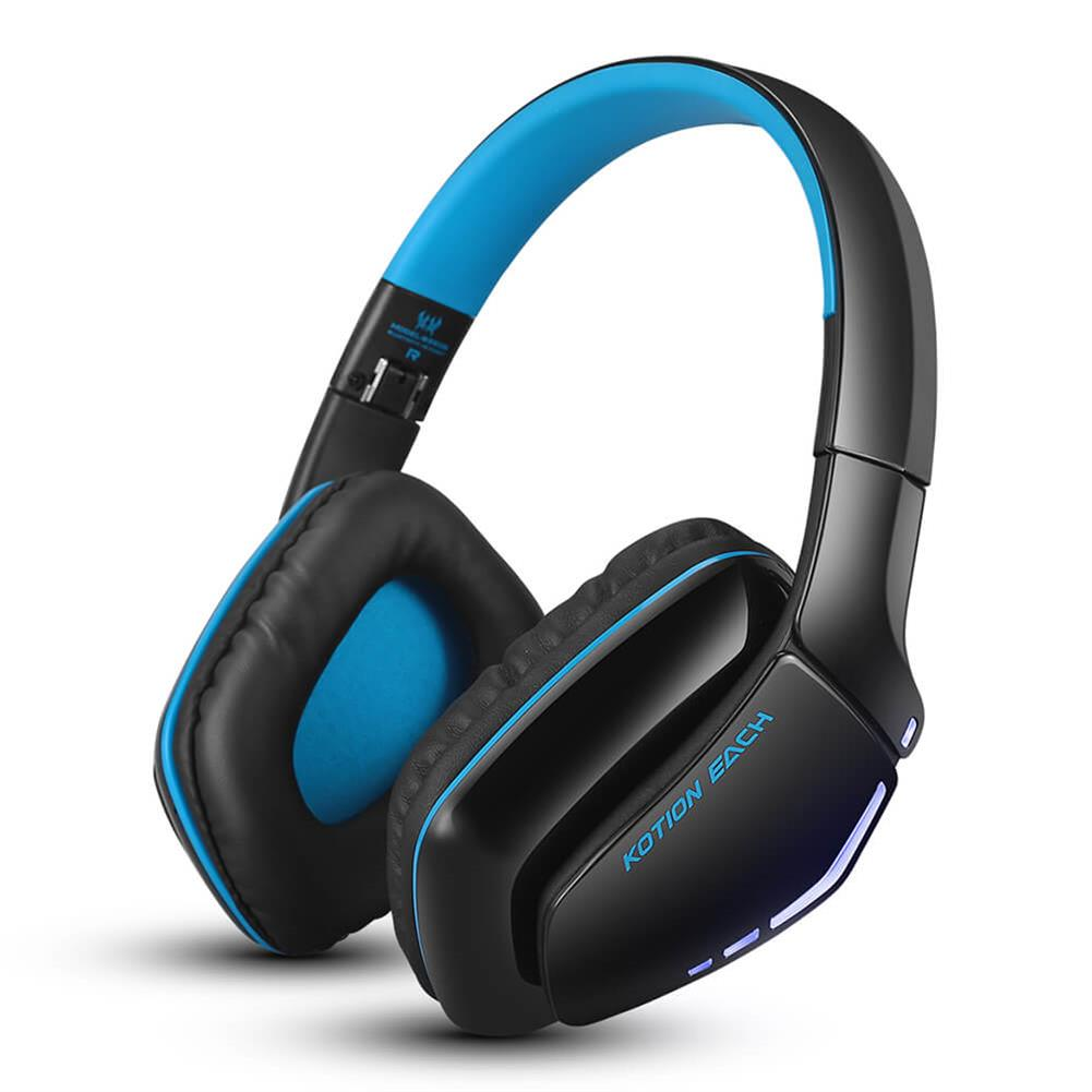 on-ear-over-ear-headphones-KOTION EACH B3506 Foldable Bluetooth 4.1 Gaming Headsets - Black+Blue-KOTION EACH B3506 Foldable Bluetooth 4 1 Gaming Headsets Black Blue
