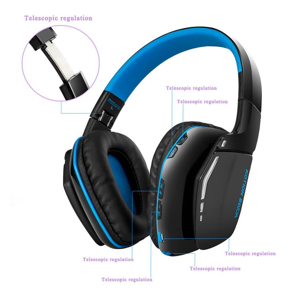 on-ear-over-ear-headphones KOTION EACH B3506 Foldable Bluetooth 4.1 Gaming Headsets - Black+Blue KOTION EACH B3506 Foldable Bluetooth 4 1 Gaming Headsets Black Blue 6