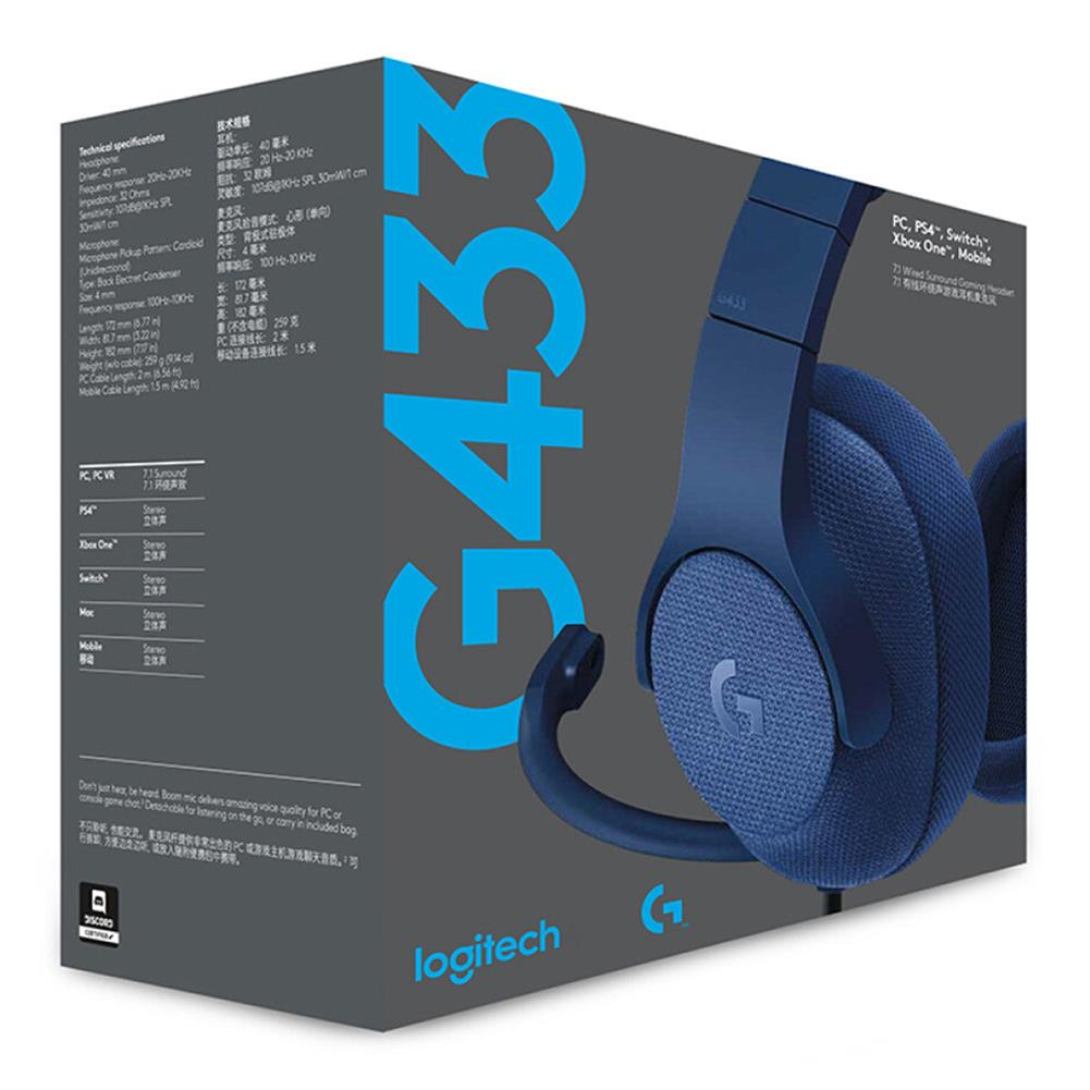 on-ear-over-ear-headphones Logitech G433 Gaming Headset Wired 7.1 Surround Sound Channel - Blue Logitech G433 Gaming Headset Wired 7 1 Surround Sound Channel Blue 5