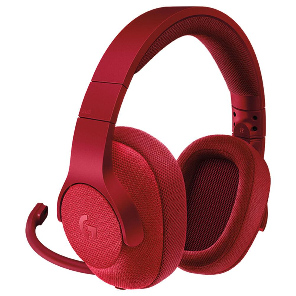 on-ear-over-ear-headphones Logitech G433 Gaming Headset Wired 7.1 Surround Sound Channel - Red Logitech G433 Gaming Headset Wired 7 1 Surround Sound Channel Red