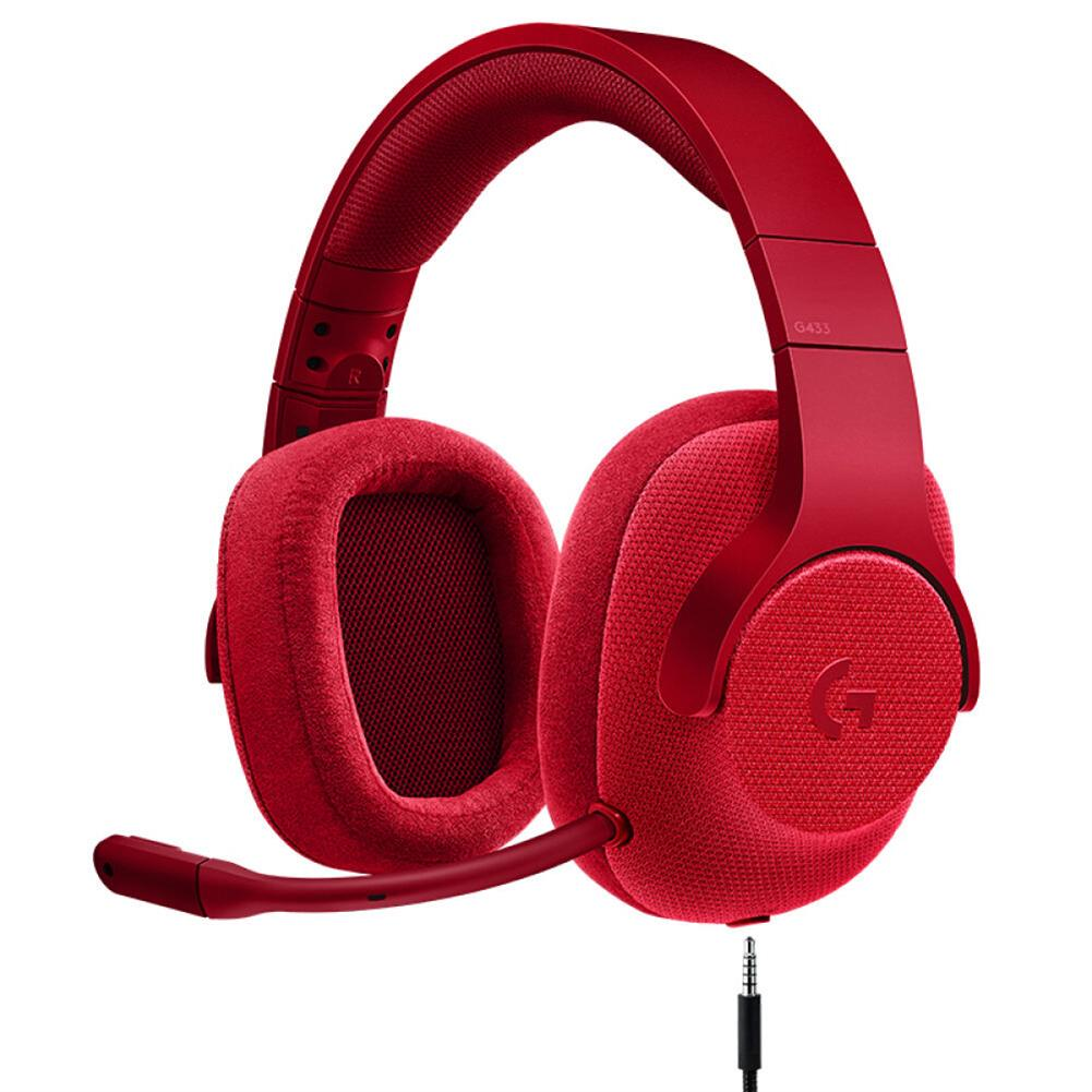 on-ear-over-ear-headphones Logitech G433 Gaming Headset Wired 7.1 Surround Sound Channel - Red Logitech G433 Gaming Headset Wired 7 1 Surround Sound Channel Red 1