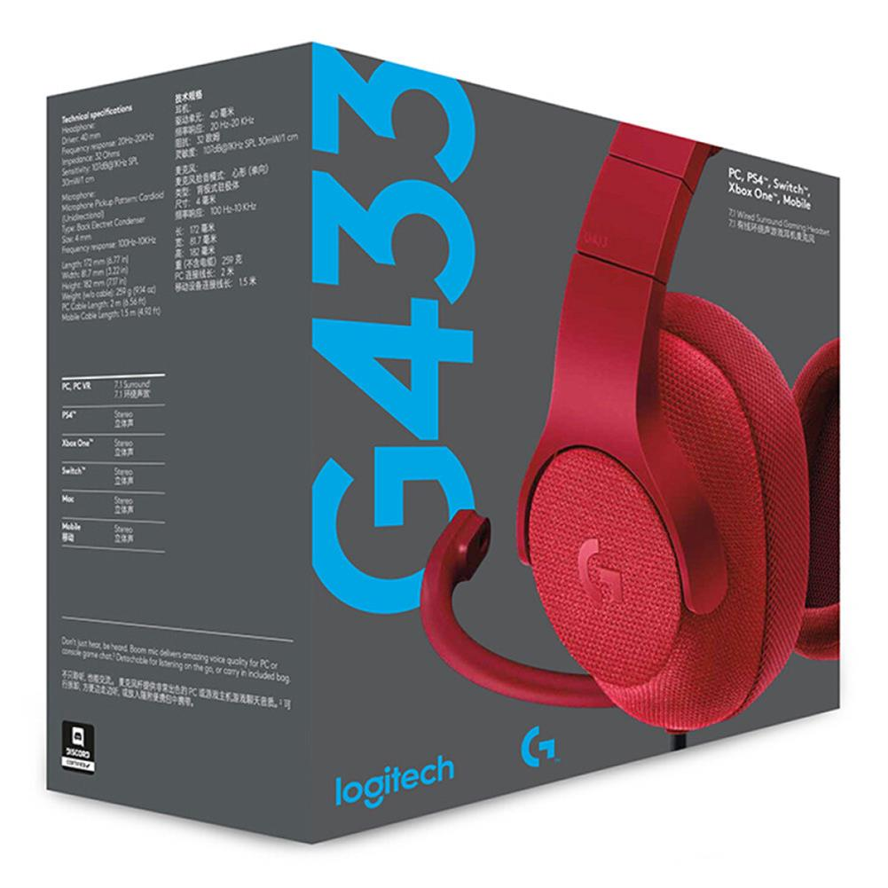 on-ear-over-ear-headphones Logitech G433 Gaming Headset Wired 7.1 Surround Sound Channel - Red Logitech G433 Gaming Headset Wired 7 1 Surround Sound Channel Red 5