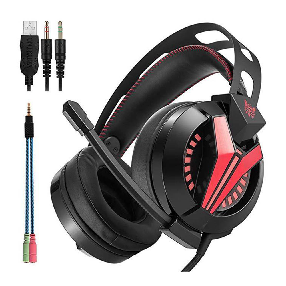on-ear-over-ear-headphones ONIKUMA M180 Gaming Headset Stereo Sound Noise Canceling LED Lights for PC - Black ONIKUMA M180 Gaming Headset Stereo Sound Noise Canceling LED Lights for PC Black