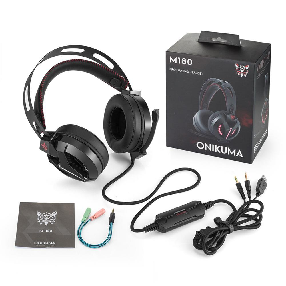 on-ear-over-ear-headphones ONIKUMA M180 Gaming Headset Stereo Sound Noise Canceling LED Lights for PC - Black ONIKUMA M180 Gaming Headset Stereo Sound Noise Canceling LED Lights for PC Black 4
