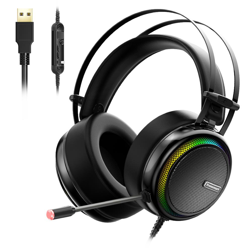 on-ear-over-ear-headphones Tronsmart Glary Gaming Headset 7.1 Virtual Surround Sound Stereo Sound with Colorful LED Lighting USB Interface Mic for PC Laptop Tronsmart Glary Gaming Headset 7 1 Virtual Surround Sound Stereo Sound with Colorful LED Lighting USB Interface Mic for PC Laptop