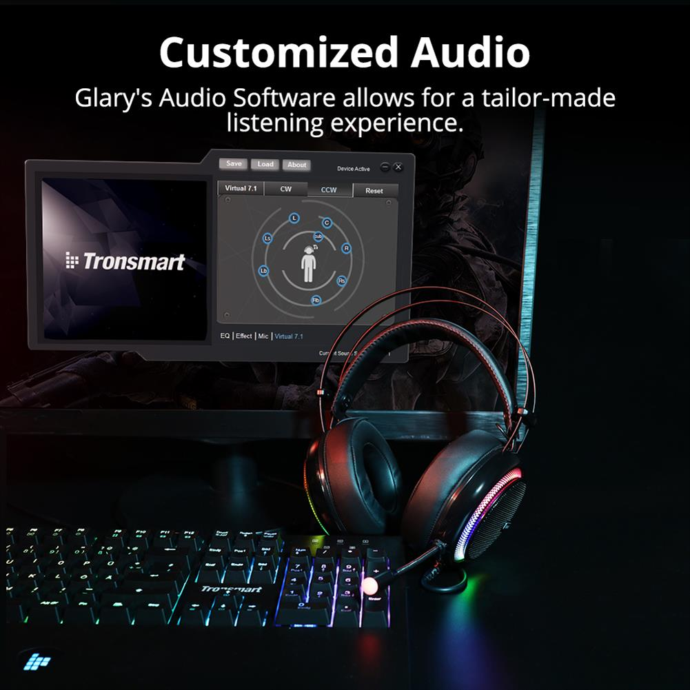on-ear-over-ear-headphones Tronsmart Glary Gaming Headset 7.1 Virtual Surround Sound Stereo Sound with Colorful LED Lighting USB Interface Mic for PC Laptop Tronsmart Glary Gaming Headset 7 1 Virtual Surround Sound Stereo Sound with Colorful LED Lighting USB Interface Mic for PC Laptop 10