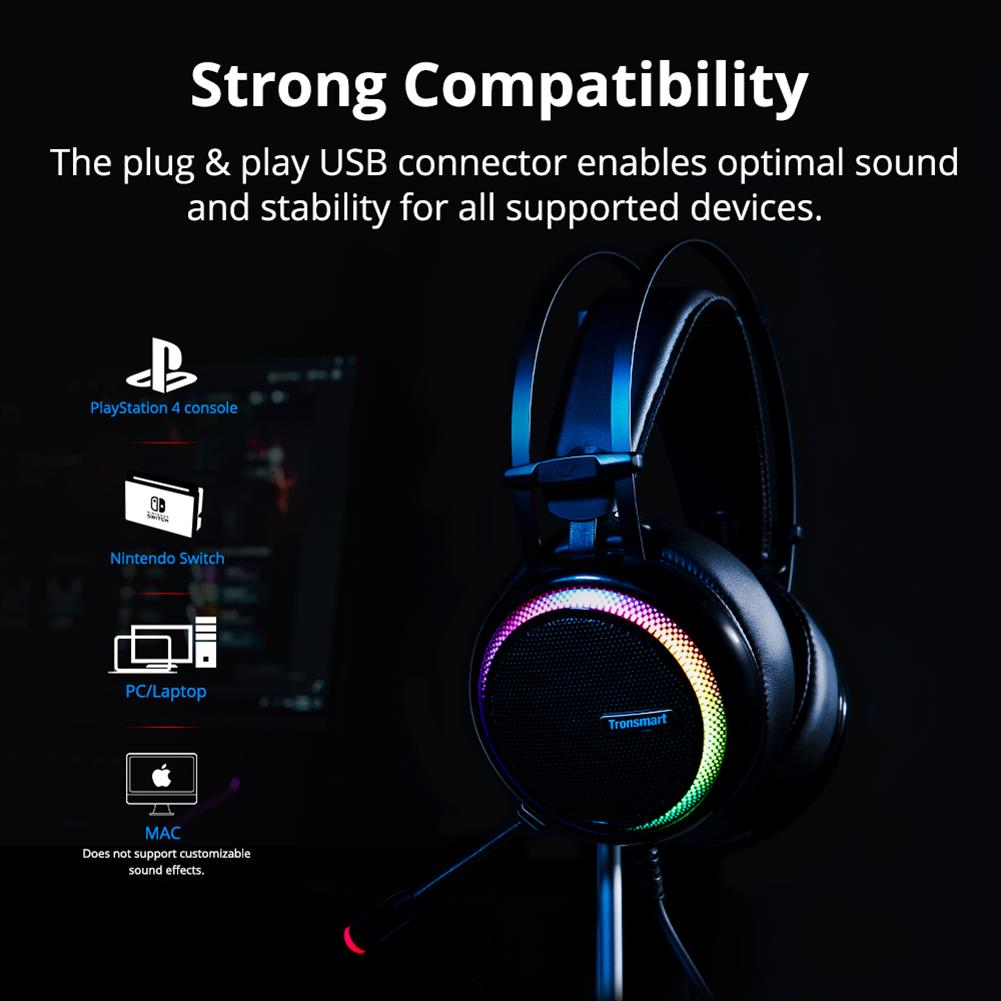 on-ear-over-ear-headphones Tronsmart Glary Gaming Headset 7.1 Virtual Surround Sound Stereo Sound with Colorful LED Lighting USB Interface Mic for PC Laptop Tronsmart Glary Gaming Headset 7 1 Virtual Surround Sound Stereo Sound with Colorful LED Lighting USB Interface Mic for PC Laptop 7